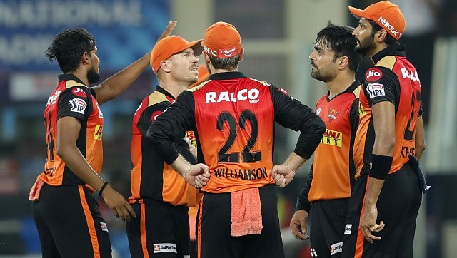 Rashid Khan of Sunrisers Hyderabad celebrates the wicket of  Mohammad Shami of Kings XI Punjab  during match 22 of season 13 of the Dream 11 Indian Premier League (IPL) between the Sunrisers Hyderabad and the  Kings XI Punjab held at the Dubai International Cricket Stadium, Dubai in the United Arab Emirates on the 8th October 2020.  Photo by: Saikat Das  / Sportzpics for BCCI