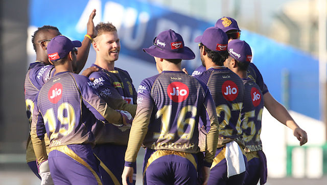 Kolkata Knight Riders players celebrates the wicket of Kane Williamson of Sunrisers Hyderabad during match 35 of season 13 of the Dream 11 Indian Premier League (IPL) between the Sunrisers Hyderabad and the Kolkata Knight Riders at the Sheikh Zayed Stadium, Abu Dhabi in the United Arab Emirates on the 18th October 2020. Photo by: Vipin Pawar / Sportzpics for BCCI