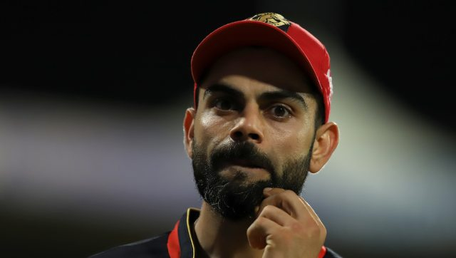 Virat Kohli said the decision to push AB de Villiers down the order was taken as KXIP had two leg-spinners bowling. Image: Sportzpics for BCCI