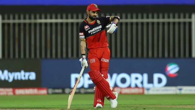 Virat Kohli was the highest run-getter for RCB with 48 off 39 as other batsmen struggled on the two-pace pitch. Image: Sportzpics for BCCI