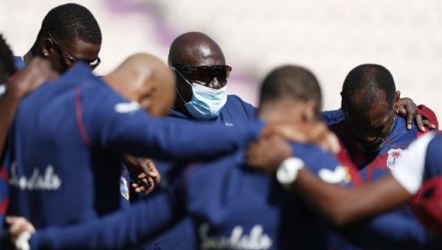 File image of West Indies coaching staff along with players. AFP