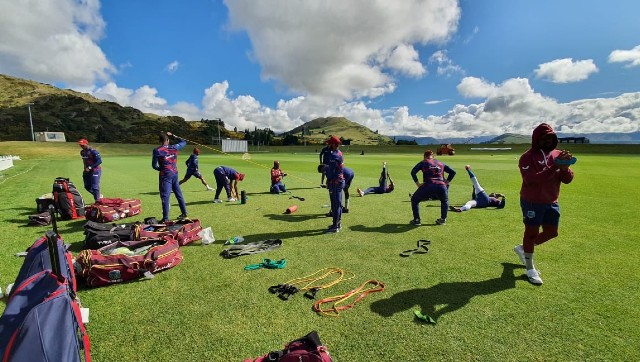 West Indies players warm up ahead of the first T20I against New Zealand on Friday. Twitter/ @windiescricket