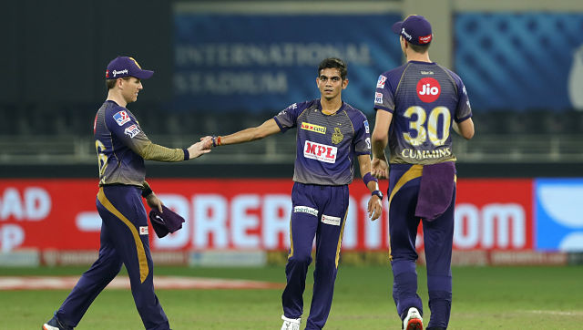 The Kolkata Knight Riders celebrates the win during match 54 of season 13 of the Dream 11 Indian Premier League (IPL) between the Kolkata Knight Riders and the Rajasthan Royals held at the Dubai International Cricket Stadium, Dubai in the United Arab Emirates on the 1st November 2020. Photo by: Saikat Das / Sportzpics for BCCI