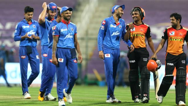 Delhi Capitals players and Sunrisers Hyderabad players after the qualifier 2 match of season 13 of the Dream 11 Indian Premier League (IPL) between the Delhi Capitals and the Sunrisers Hyderabad at the Sheikh Zayed Stadium, Abu Dhabi in the United Arab Emirates on the 8th November 2020.  Photo by: Vipin Pawar  / Sportzpics for BCCI