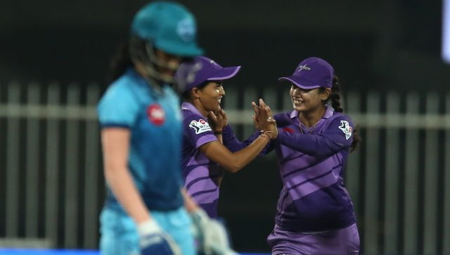 Ekta Bisht of Velocity celebrates the wicket of Jemimah Rodrigues of Supernovas during match 1 of Women's T20 Challenge 2020. Image: Sportzpics for BCCI