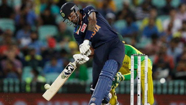 Hardik Pandya scored 90 off 76 batting at No 6 for India as he once showcased his talent with the bat. AP