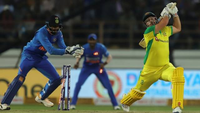 Aaron Finch (c) of Australia stumped by K. L. Rahul of India during the 2nd One day International match between India and Australia held at the Saurashtra Cricket Association Stadium, Rajkot on the 17th Jan 2020. Photo by Deepak Malik / Sportzpics for BCCI