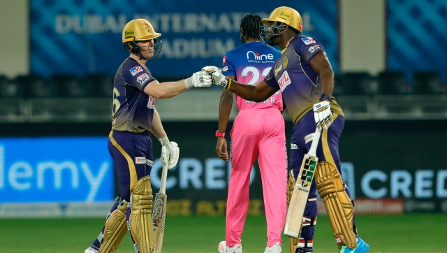 Eoin Morgan, captain of Kolkata Knight Riders and Andre Russell of Kolkata Knight Riders during match 54 of season 13 of the Dream 11 Indian Premier League (IPL) between the Kolkata Knight Riders and the Rajasthan Royals held at the Dubai International Cricket Stadium, Dubai in the United Arab Emirates on the 1st November 2020. Photo by: Saikat Das / Sportzpics for BCCI