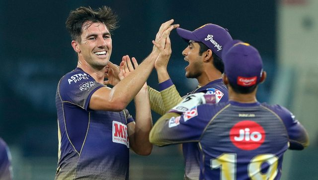 Australian ace pacer Pat Cummins made a poor start giving away 19 runs in the first over but then struck four times to derail RR's chase as KKR won the match. Image: Sportzpics for BCCI