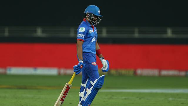 Prithvi Shaw of Delhi Capitals departs during the qualifier 1 match of season 13 of the Dream 11 Indian Premier League (IPL) between the Mumbai Indians and the Delhi Capitals held at the Dubai International Cricket Stadium, Dubai in the United Arab Emirates on the 5th November 2020. Photo by: Ron Gaunt / Sportzpics for BCCI