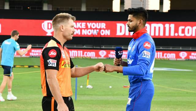 SRH Captain David Warner and DC Captain Shreyas Iyer during the Toss before the match 47 of season 13 of the Dream 11 Indian Premier League (IPL) between the Sunrisers Hyderabad and the Delhi Capitals held at the Dubai International Cricket Stadium, Dubai in the United Arab Emirates on the 27th October 2020. Photo by: Samuel Rajkumar / Sportzpics for BCCI