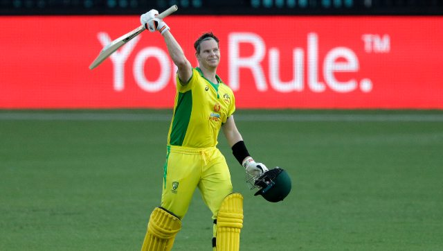 Steve Smith struck a quickfire 105 off 66 as Australia scored an imposing 374/6 against India in 1st ODI. AP