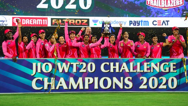 The victorious Trailblazers pose with the trophy after defeating Supernovas by 16 runs in the final. Sportzpics