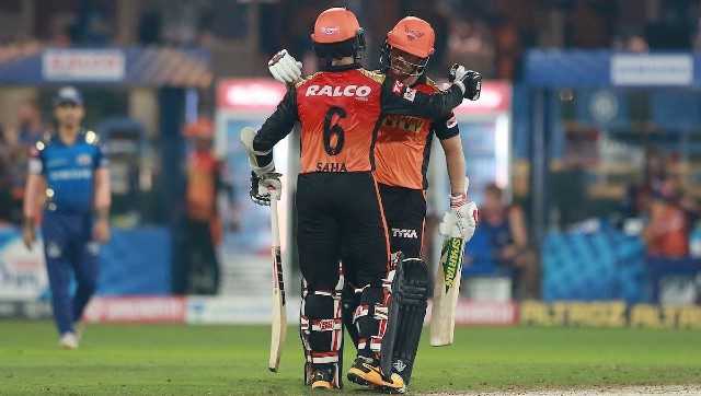 David Warner and Wriddhiman Saha guded SRH to playoffs with a 10-wicket win on Tuesday.