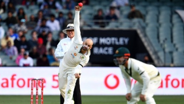 Australian spinner Nathan Lyon in action during Day 1 of the first Test against India. AFP