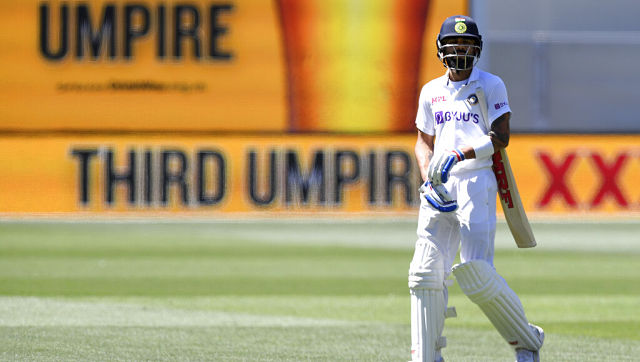 India skipper Virat Kohl walks off after being dismissed in the second innings of the first Test. AP