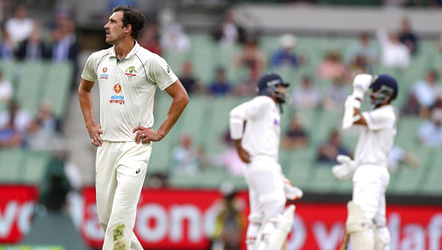 Australia's Mitchell Starc reacts during Day Two of the Melbourne Test. AP