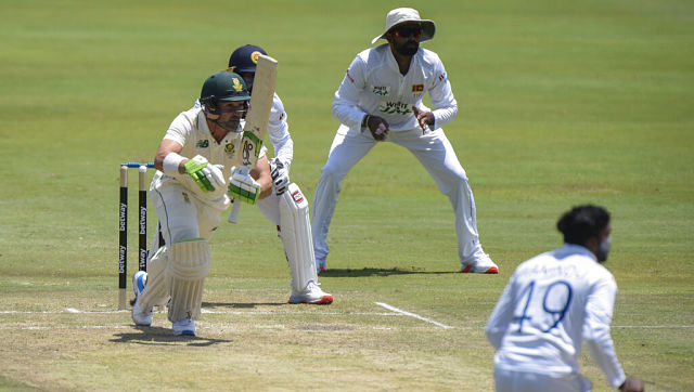 South Africa's Dean Elgar in action Day 2 of the first Test against Sri Lanka. AP