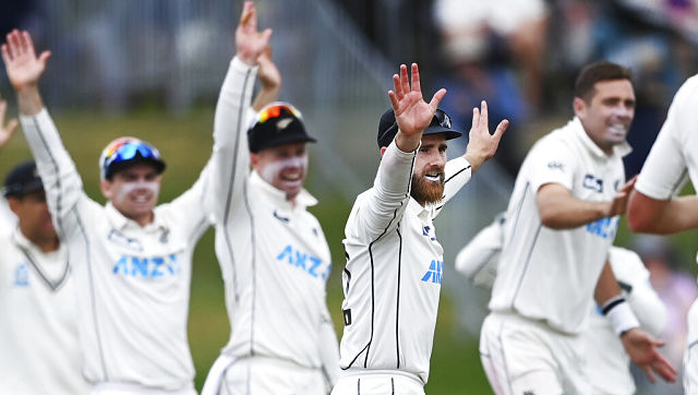 New Zealand captain Kane Williamson and teammates appeal for a dismissal against Pakistan. AP