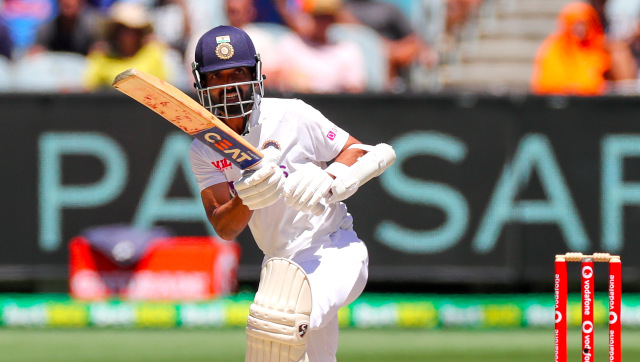 Ajinkya Rahane bats during India's chase of the 70-run target, which they eventually accomplished with eight wickets to spare. AP
