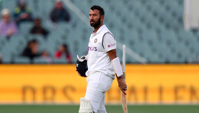Cheteshwar Pujara scored a stubborn 43 in the first innings of the Pink Ball Test before getting dismissed off Nathan Lyon's bowling. AP