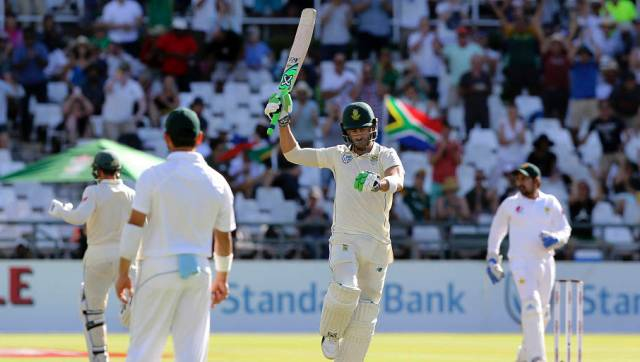 South African Captain Faf du Plessis celebrates his 100 on day two of the second cricket test match between South Africa and Pakistan at Newlands Cricket Ground in Cape Town, South Africa, Friday, Jan. 4, 2019. (AP Photo/Halden Krog)