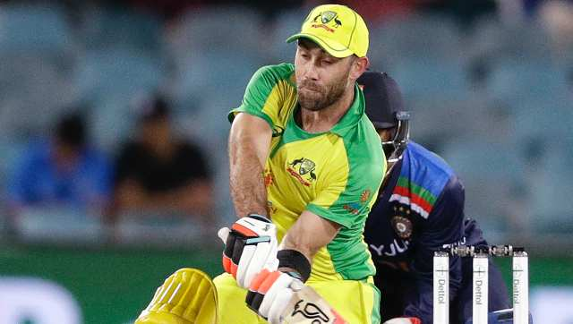 Australia's Glenn Maxwell bats against India during their one day international cricket match at Manuka Oval in Canberra, Australia, Wednesday, Dec. 2, 2020. (AP Photo/Mark Baker)
