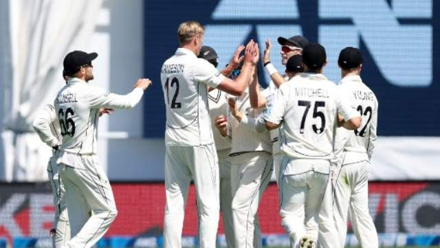 Kyle Jamieson closed the day with the wickets of Jason Holder for nine and Alzarri Joseph without scoring to have figures of five for 34. AFP