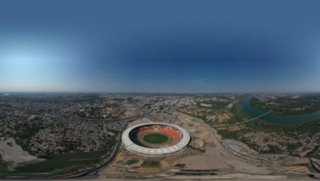 An aerial view of the newly-constructed Motera Stadium in Ahmedabad. Image: Twitter @BCCI