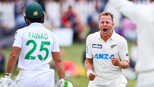 New Zealand pacer Neil Wagner celebrates after grabbing the key wicket of Fawad Alam on the final day of the first Test at Mount Maunganui. AP