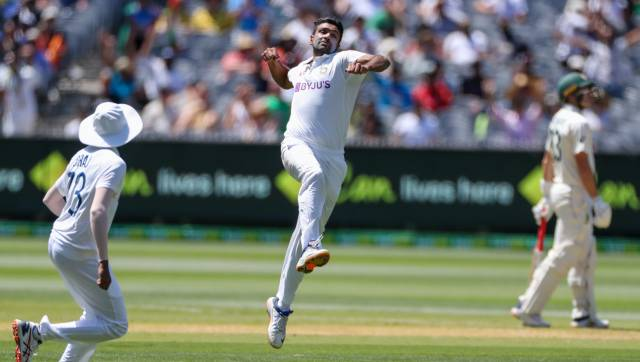 India's Ravichandran Ashwin celebrates after taking the wicket of Australia's Steve Smith for no score during play on day one of the Boxing Day cricket test between India and Australia at the Melbourne Cricket Ground, Melbourne, Australia, Saturday, Dec. 26, 2020. (AP Photo/Asanka Brendon Ratnayake)