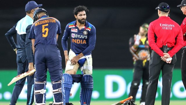Ravindra Jadeja suffered concussion and a hamstring injury during the second T20I against Australia. AFP