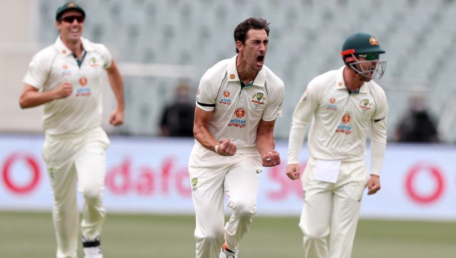 Mitchell Starc struck twice, each with the new ball, to peg India back. Image: AP