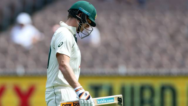 Australia's Steve Smith walks from the field after he was dismissed during play on day three of the second cricket test between India and Australia at the Melbourne Cricket Ground, Melbourne, Australia, Monday, Dec. 28, 2020. (AP Photo/Asanka Brendon Ratnayake)