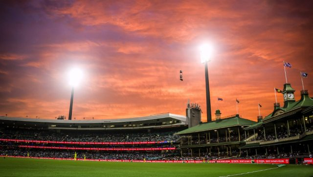 The sun sets over the Members' Stand during the one-day cricket match between India and Australia at the Sydney Cricket Ground (SCG) in Sydney on November 29, 2020. AFP