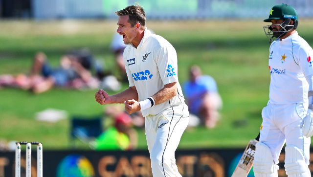 Tim Southee celebrates his 300th wicket in Test cricket, becoming only the third New Zealand bowler to enter the elite group. AP