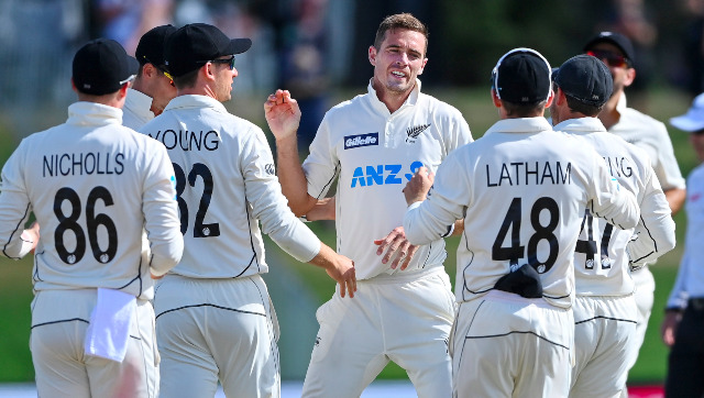 Tim Southee celebrates the dismissal of Haris Sohail — his 300th Test wicket — with teammates on Day 4 of the first Test at Mount Maunganui. AP