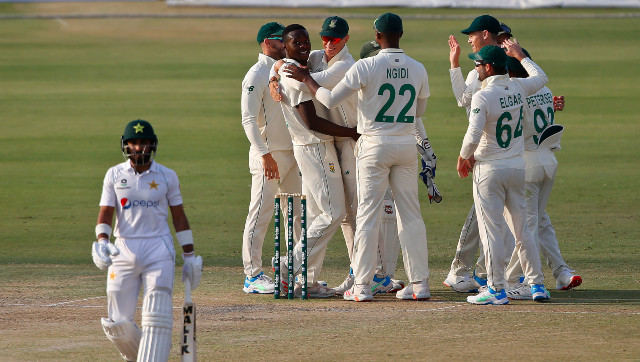 South Africa pace spearhead Kagiso Rabada celebrates after getting Pakistan opener Imran Butt dismissed for 9. AP