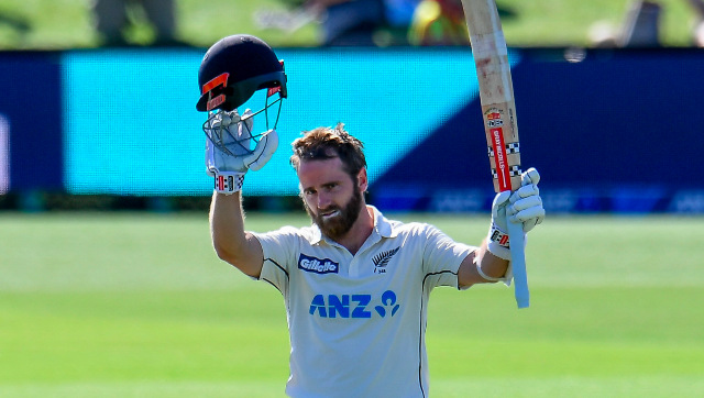 Kane Williamson celebrates after completing his 24th century in Test cricket on Monday. AP