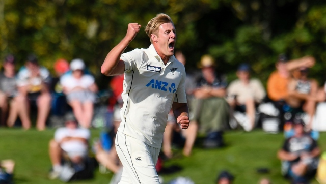 Kyle Jamieson took a five-wicket haul as New Zealand bowled out Pakistan for 297 on Day 1 of the second Test. AP