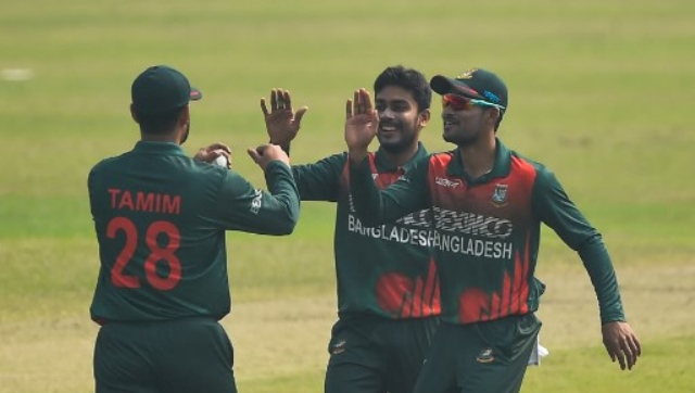 Bangladesh's Mehidy Hasan celebrates the dismissal of Kjorn Ottley during the second ODI against West Indies on Friday. AFP