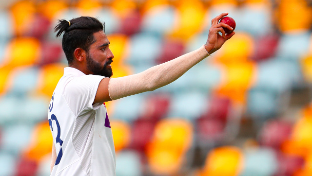 Mohammed Siraj gestures towards the crowd after completing his maiden five-for in Test cricket in only his third appearance. AP