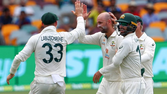 India lost Rohit Sharma just before tea after which no play was possible due to rain. Nathan Lyon took the wicket of Rohit Sharma. AP