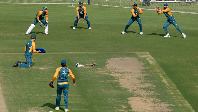 Pakistani players hone their slip catching skills at a team training session in Karachi ahead of the first Test against South Africa. AP