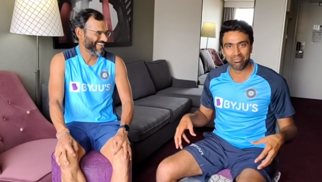Ravichandran Ashwin and R Sridhar during a video conversation on the cricketer's YouTube channel. Image: Screenshot from Ravichandran Ashwin's YouTube channel.