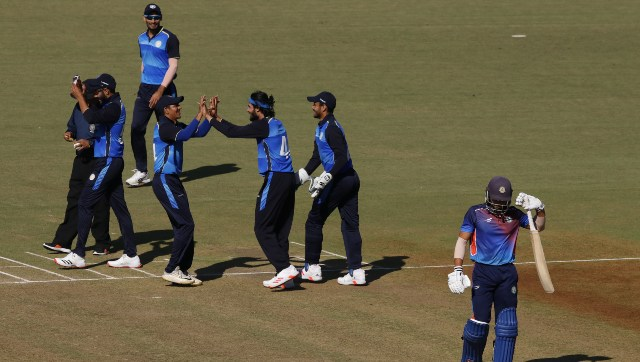 Action from Saurashtra's win over Vidarbha in their Syed Mushtaq Ali fixture. Twitter@BCCIdomestic