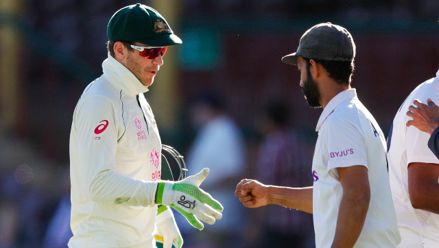 Australia captain and his India counterpart Ajinkya Rahane shake hands at the end of the drawn Sydney Test. AP