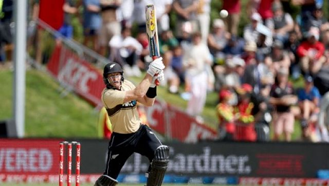 New Zealand's Martin Guptill plays a shot during the 2nd cricket T20 match between New Zealand and Australia at University Oval in Dunedin. AFP