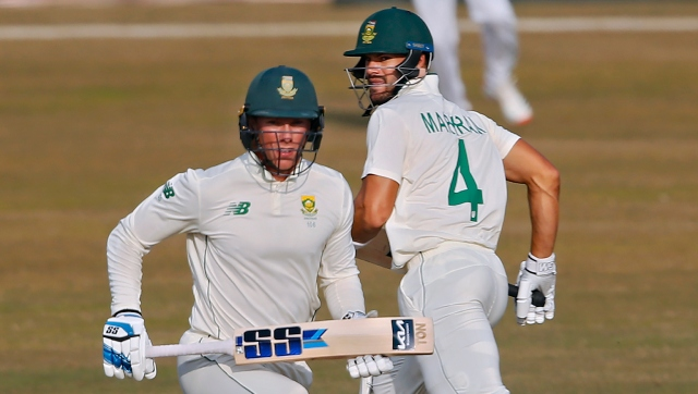 South Africa's Rassie van der Dussen (59*), left, and Aiden Markram (48*) carried the Proteas to 127-1 at stumps on Day 4. AP