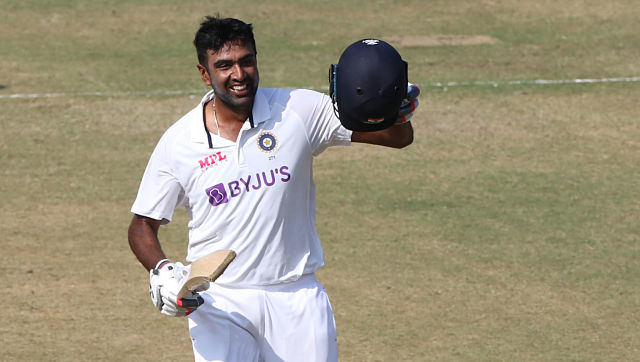 R Ashwin celebrates  after scoring century during day three of 2nd India vs England Test in Chennai. Sportzpics